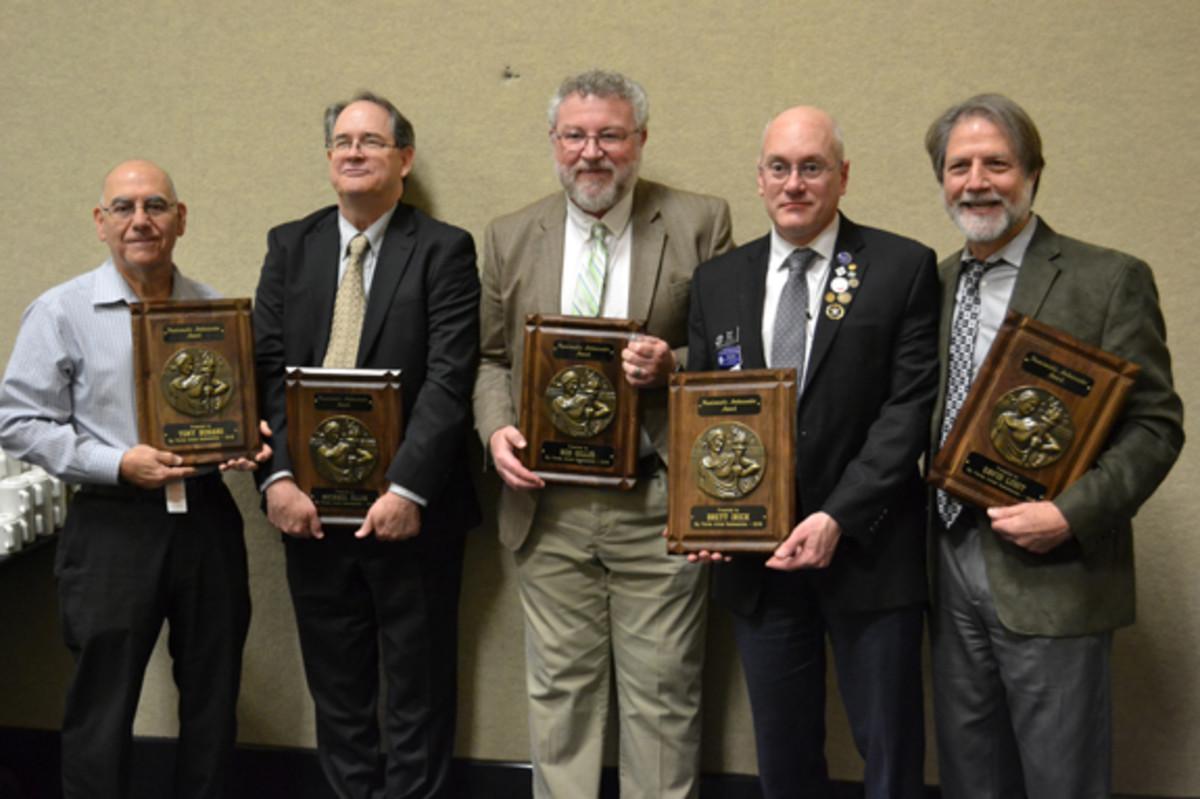 From left to right, newly minted Numismatic Ambassadors Tony Bonaro, Mike Ellis, Rod Gillis, Brett Irick, and David Lisot. (Photo courtesy of Bob Hurst)