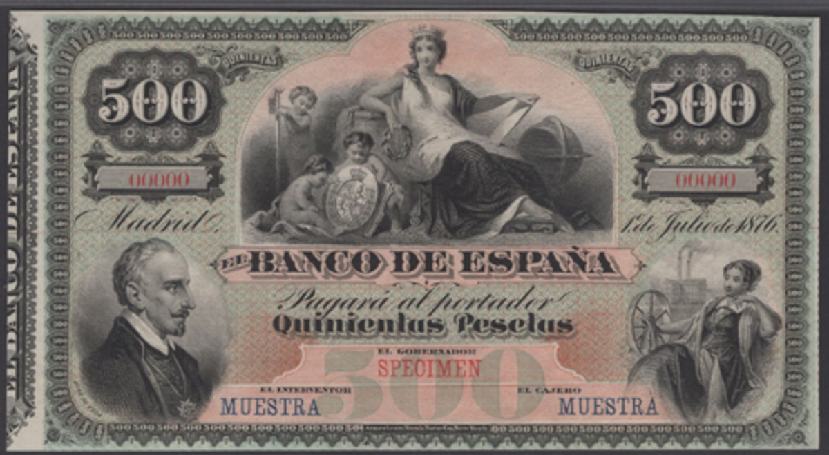 Rare specimen: Banco de Espana 500 pesetas of 1 July 1876 (P-12s), the better of only two known. Graded PMG 64 Uncirculated, it has an estimate of $11,500-15,000. (Image courtesy DNW)