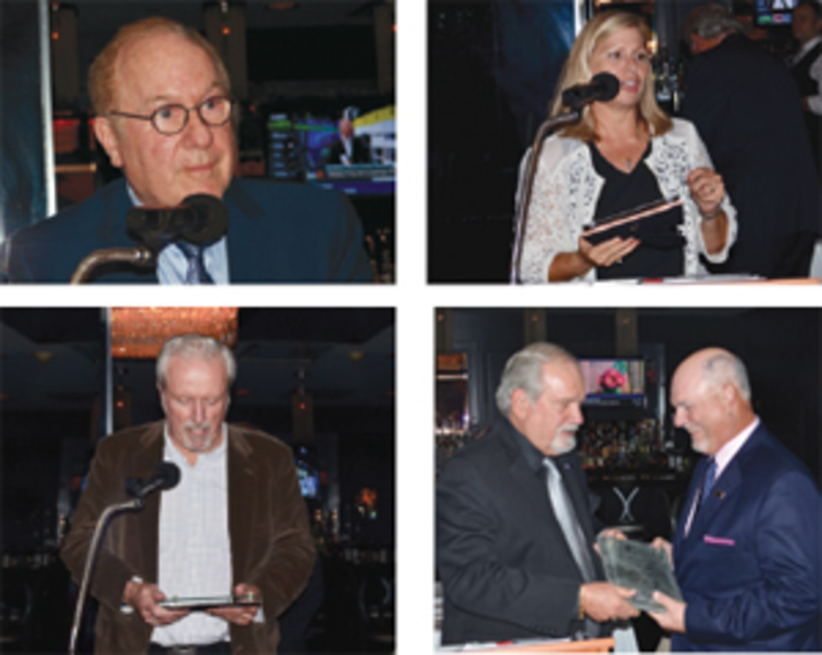 Top left, PNG president Barry Stuppler cites Pearlman's many career achievements. Top right, Kathy McFadden expresses her thanks for the Significant Contribution Award. Bottom left, Don Ketterling graciously accepts the PNG Abe Kosoff Founders Award on behalf of his late friend, Charles Browne. And bottom right, Bob Brueggeman presents the Sol Kaplan Award to Richard Weaver.