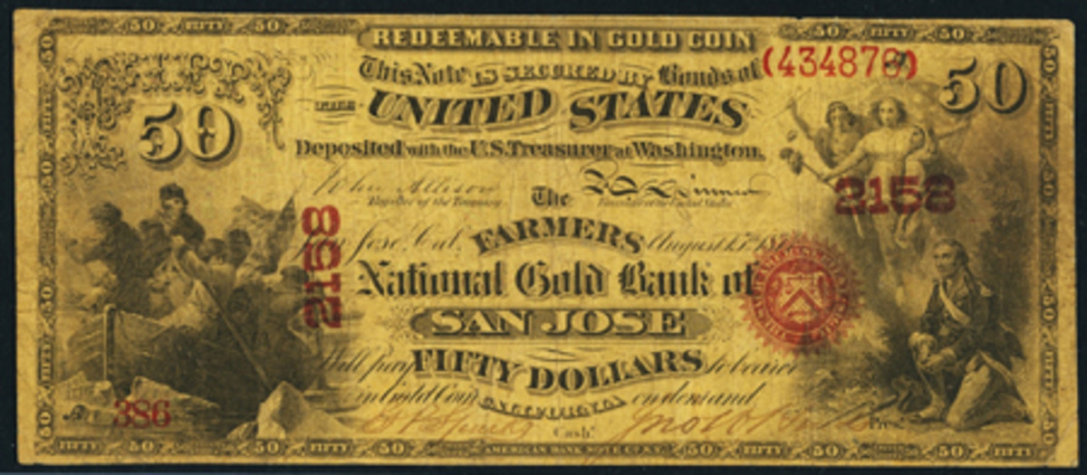 This unique-for-the-bank $50 National Gold Bank Note led all others in Heritage's CSNS auction. The rarity from The Farmers National Bank of San Jose, Calif., brought $376,000.
