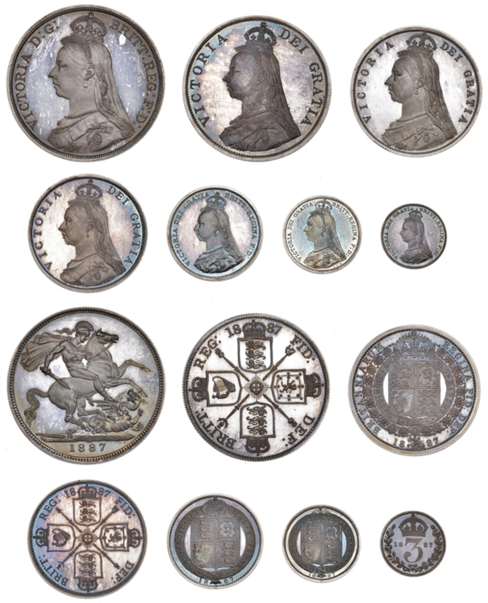 The 1887 Great Britain proof set, featuring Queen Victoria.