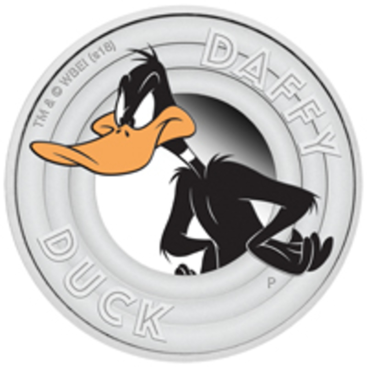 Daffy Duck features on a Tuvaluan silver 50 cents, the second coin in a new Looney Tunes Series. (Image courtesy The Perth Mint: LOONEY TUNES and all related characters and elements © & ™ Warner Bros. Entertainment Inc. WB SHIELD: © & ™ WBEI (s18))