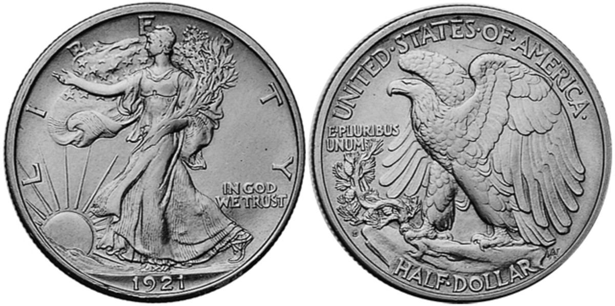 The 1921-D Walking Liberty half dollar saw a low mintage of 208,000 coins produced, most of which circulated for many years before being saved.