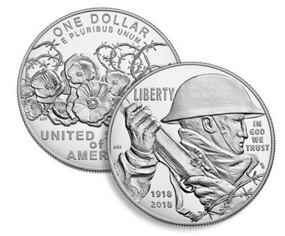 Commemorative coin honoring the end of World War I. Courtesy of US Mint