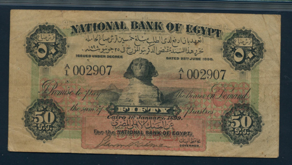 Egyptian rarity:  Palmer signature on 50 piastres of 1899, P-1a. It comes in a highly collectible PMG Very Fine 25.