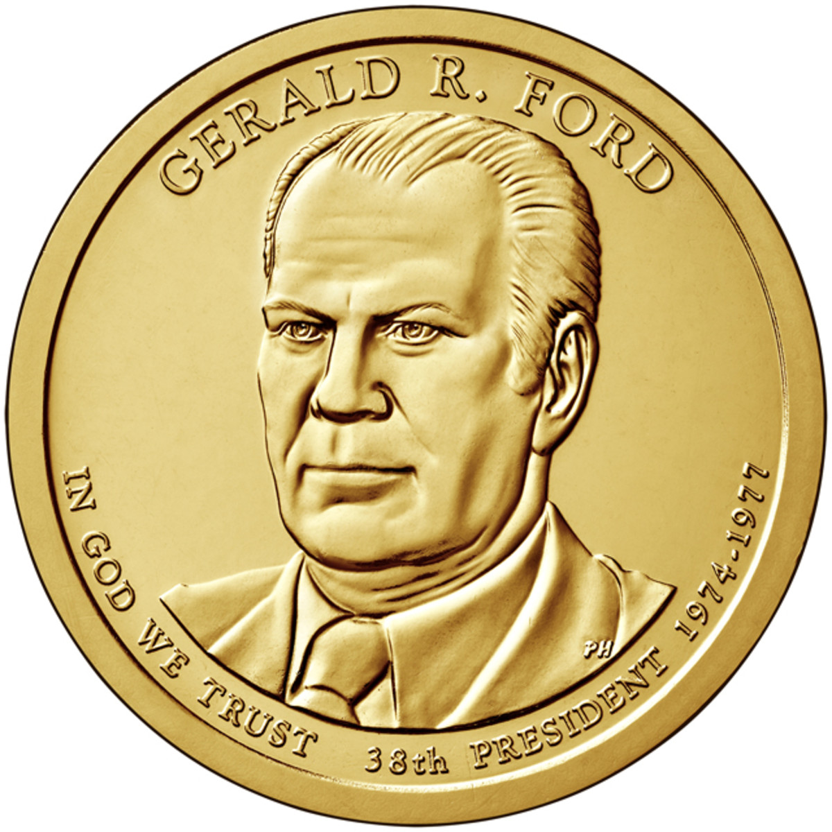 Obverse of the Ford Presidential dollar.