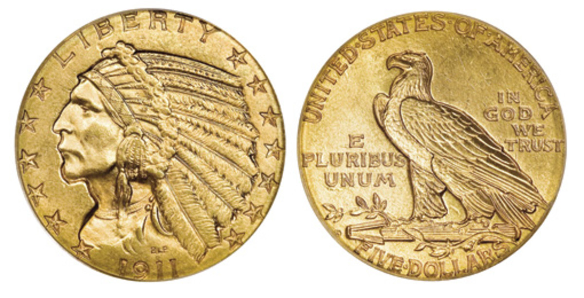 A 1911-D Indian Head $5 gold piece, like the one shown here, held a great deal of buying power in pre-World War I America, significantly reducing the quantities of Uncirculated pieces found today. (Images courtesy of Heritage)