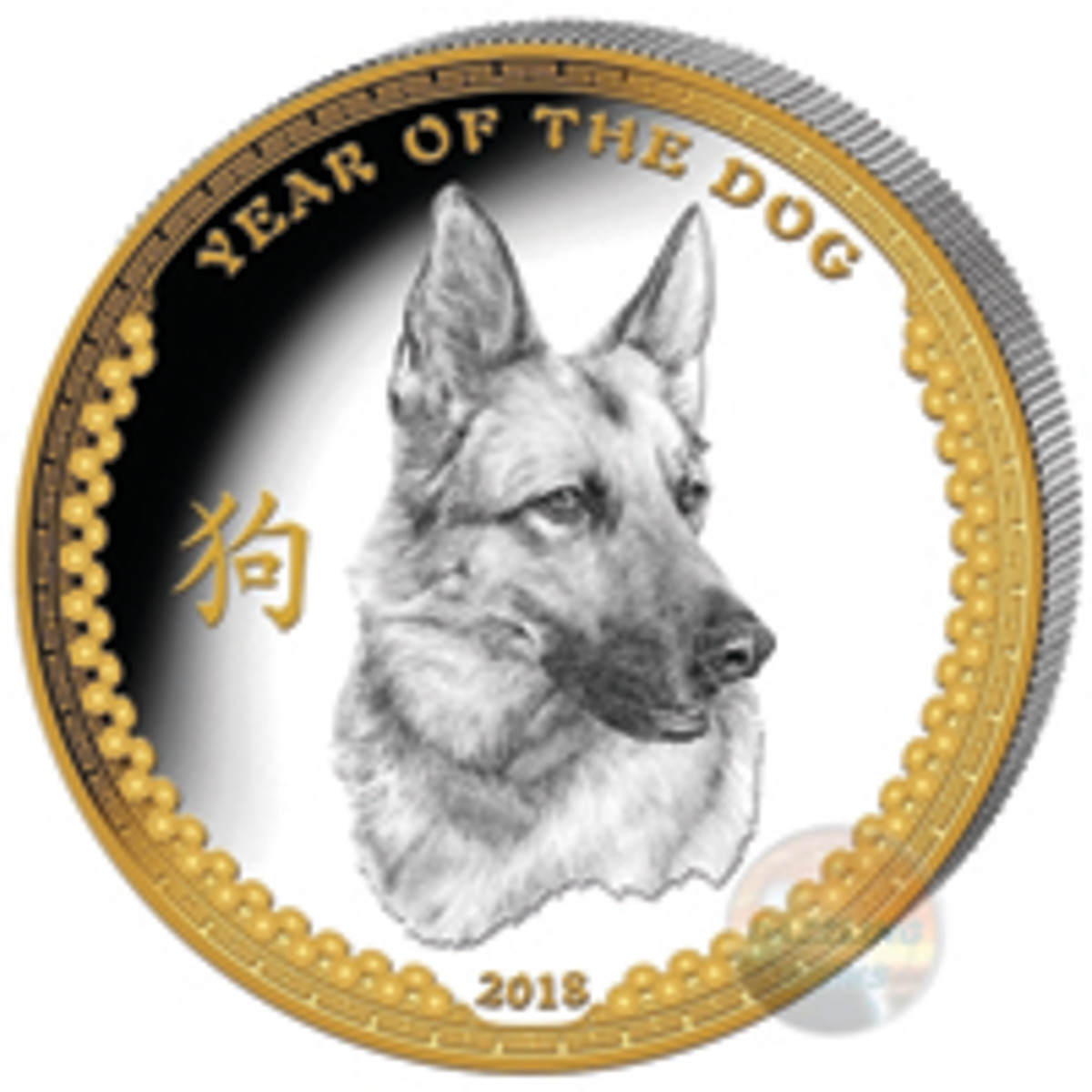 A three-quarter profile of a German Shepherd fronts the reverse of Palau's selectively gilded $5 proof. (Image courtesy Power Coin)