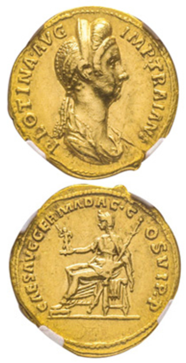Seldom-seen aureus minted by Trajan for his wife, Plotina. It comes in a desirable NGC AU 5/5–3/5 and carries an estimate of 20,000 euro. (Images courtesy Éditions Victor Gadoury)