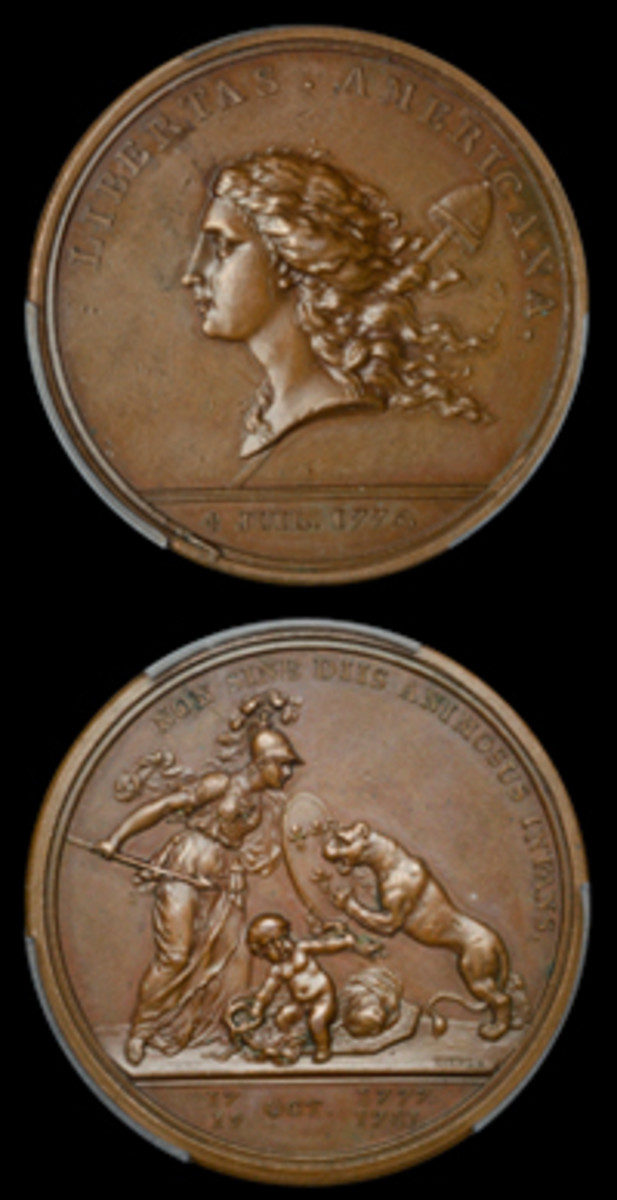 Top billing at DNW's February coin and medal sale: 1781 Libertas Americana medal, designed by Benjamin Franklin and Esprit-Antoine Gibelin and engraved by Augustin Dupré, which took $17,435 in PCGS MS62 BN. (Images courtesy and © DNW, London)