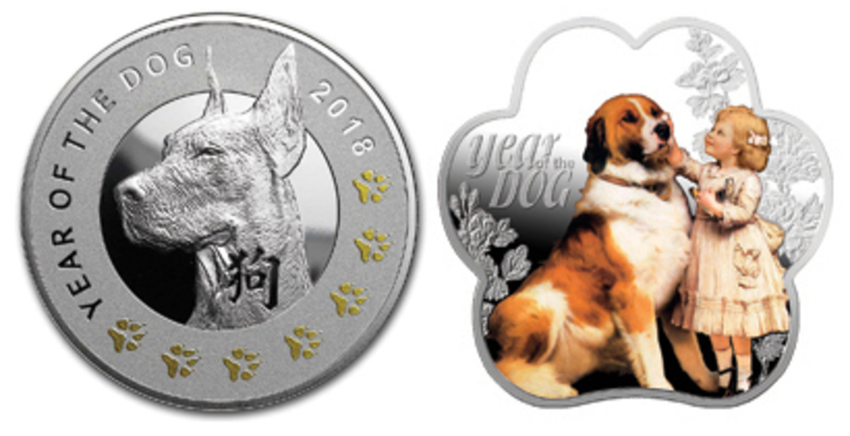 Two Mennica Polska's Year of the Dog Niuean silver dollars: a dog portrait accompanied by seven gilded lucky paw prints and a scalloped, colorized. Year of the Dog Christening gift. (Images courtesy Mennica Polska)