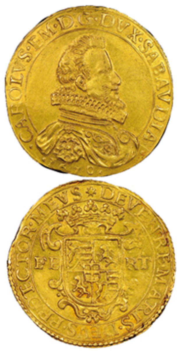 One of three known Type II scudi d'oro of Charles Emmanuel I of Savoy struck in 1610 at Turin. In NGC MS60, it will be offered at Victor Gadoury's November sale with an estimate of 200,000 euro. (Images courtesy Éditions Victor Gadoury)