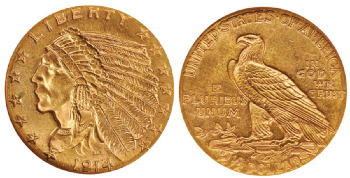 The 1914 Indian Head $2.50 gold piece is the second-rarest Indian Quarter Eagle after the 1911-D. (Images courtesy of Stacks)