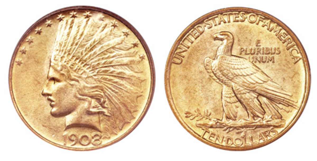Even with the Congressional agitation in late 1907 for the restoration of the IN GOD WE TRUST motto to the Eagles and Double Eagles, this 1908 Indian Head $10 gold piece was produced without it. (Images courtesy of Heritage)