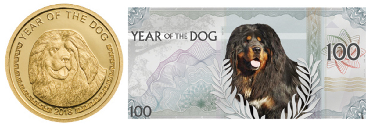 Reverse of Mongolia's Year of the Dog gold 1000 togrog and back of silver 100 togrog Year of the Dog note. Both show a Mongol Bankhar. (Images courtesy Coin Invest Trust)