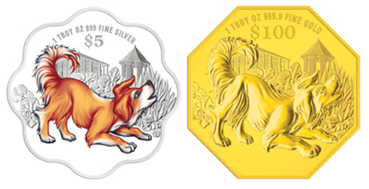 Common reverse from the second issues of Singapore Mint's fourth cycle of lunar coins: a selectively colored, scalloped silver $5 and an octagonal gold $100. (Images courtesy Singapore Mint)