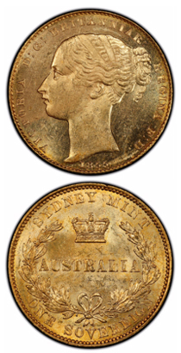 The finest-known 1855 Sydney Mint Australian sovereign. The sovereign had a face value of one British pound and contains nearly a quarter ounce of gold. (Photo courtesy Professional Coin Grading Service www.PCGS.com)