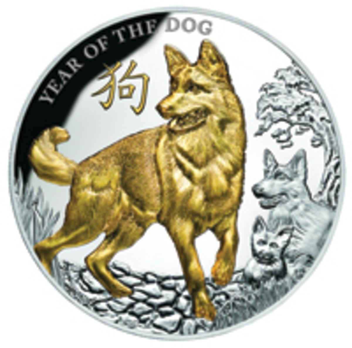 A selectively gold-plated dog dominates Niue's proof $8 struck by Produits Artistiques Métaux Précieux. (Image courtesy www.downies.com)