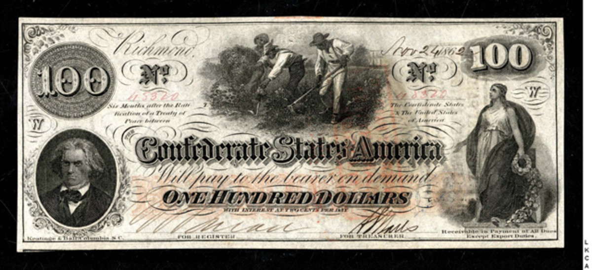 Lot 991: a T-41 confederate $100 note Nov. 24, 1862 series graded PCGS Unc-67 PPQ, estimate $1,750 to $3,250.