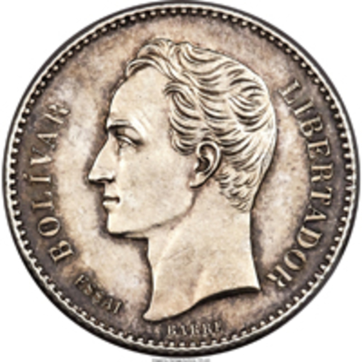 "Rare Venezuela silver proof essai 20 centavos obverse of 1874 that lacks the ""A"" mintmark of the Paris Mint. (Image courtesy and © www.ha.com)"