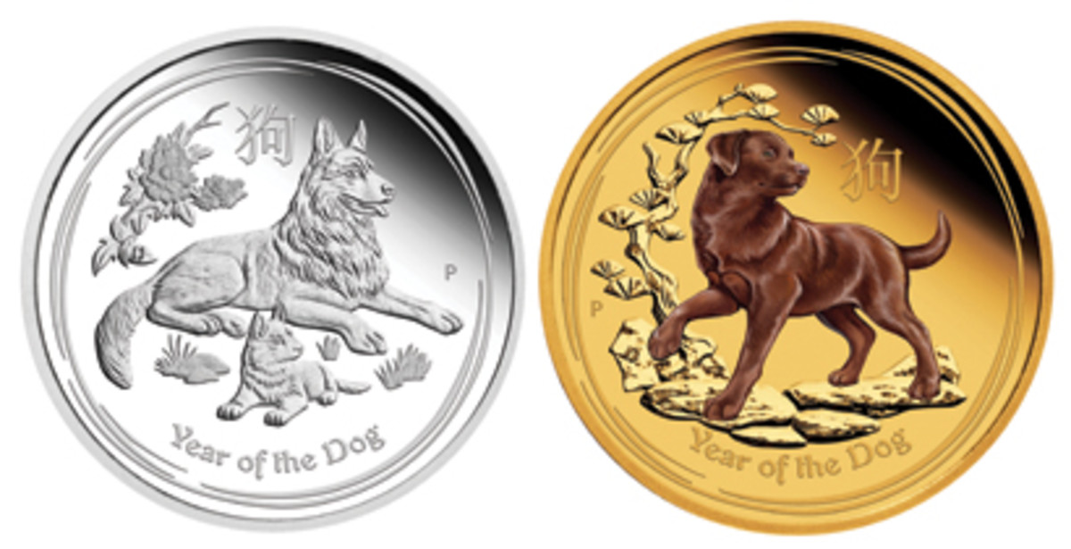 Common reverse designs of Perth Mint's Year of the Dog silver (left) and gold (right) coins. (Images courtesy Perth Mint)