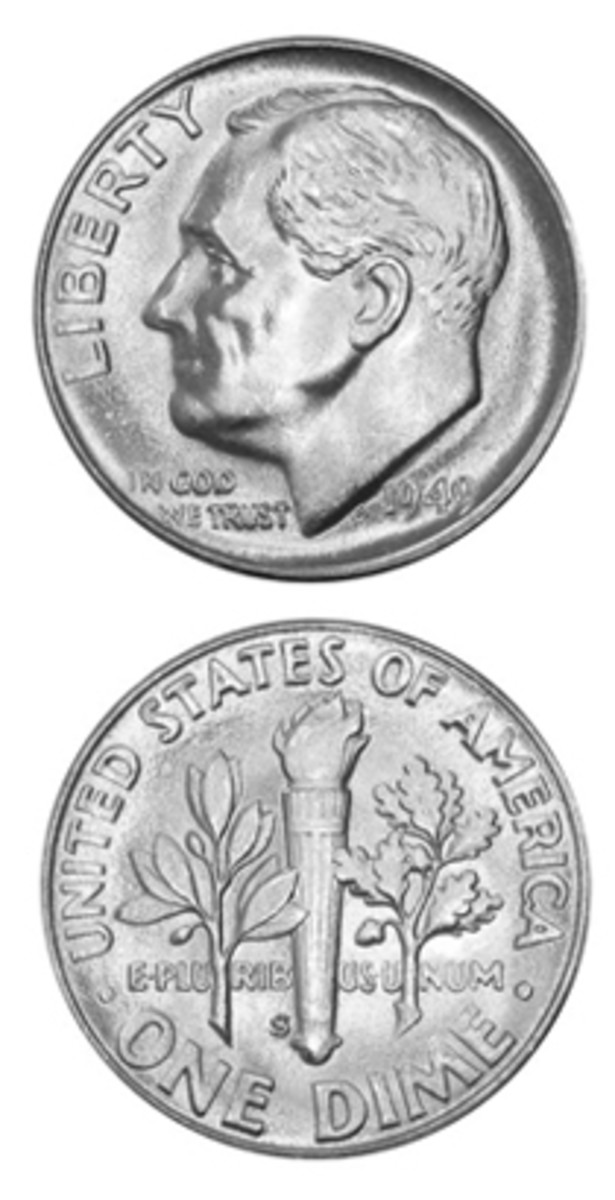 The 1949-S Roosevelt dime did not draw much attention at the time of its release, resulting in a smaller number being put aside by collectors. (Image courtesy www.usacoinbook.com)