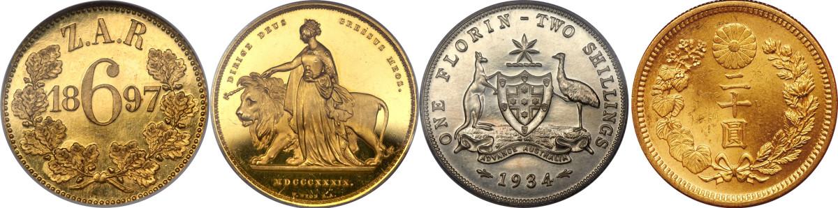 """Left to right: reverse of 1897 South Africa Republic (ZAR) proof pattern sixpence, KM-4, but struck in gold that fetched $329,000 at Heritage's NYINC sale in January. Image courtesy www.ha.com. Reverse of top selling 1839 Victoria gold """"Una and the Lion"""" proof 5 pounds, KM-742, S-3851, that took $258,500 in PR64 Deep Cameo PCGS. Image courtesy www.ha.com. Obverse of penny (PCGS PR65 RB) and reverse of florin (PCGS PR64) from Australian 1934 proof set that realized $105,750 in Heritage's January sale. Image courtesy www.ha.com. Obverse of gold Hirohito Showa 7 20 yen, KM-52, that sold for $37,440 in aUNC at Goldberg's January New York sale. Image courtesy Goldberg's."""