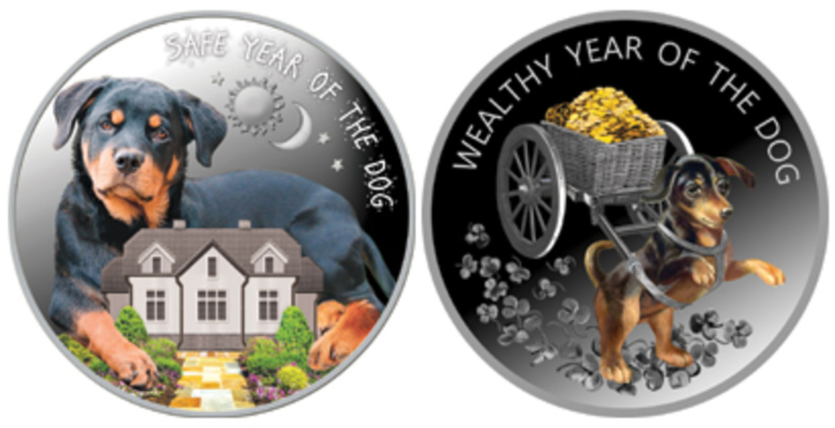 "Macedonia's two colorized ""SAFE YEAR OF THE DOG"" and ""WEALTHY YEAR OF THE DOG"" 100 denars. (Images courtesy International Coin House)"
