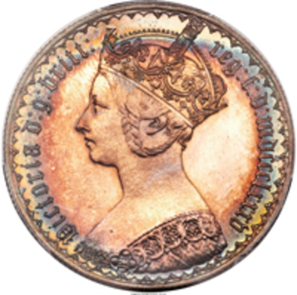 "… ""awash in amber iridescence, surrounded by hues of royal blue and celadon"" … Obverse of delightfully toned Victoria 1885 proof florin (KM-746.4, S-3900). (Image courtesy and © www.ha.com)"