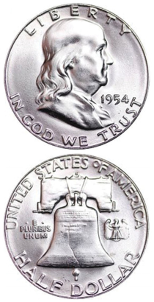 Despite getting lost among other exciting issues of the time period, the 1954-S Franklin half dollar has shown solid price increases over the years. (Proof images courtesy www.usacoinbook.com)