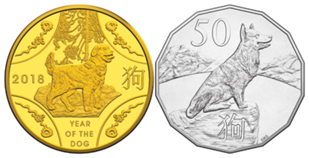 Common reverse of this year's RAM's Year of the Dog issues (left) and Stevan Stojanovic's seventh lunar BU tetradecagonal 50 cents (right). (Images courtesy RAM)