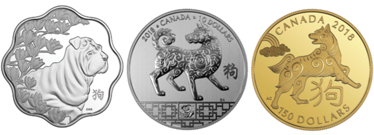 Three RCM lunar dogs. From left: Three Degrees Creative Group scalloped $15 proof, Simon Ng's dog and lucky rose silver $10, and Aries Cheung's stylized dog with auspicious cloud $150 proof. (Images courtesy Royal Canadian Mint)