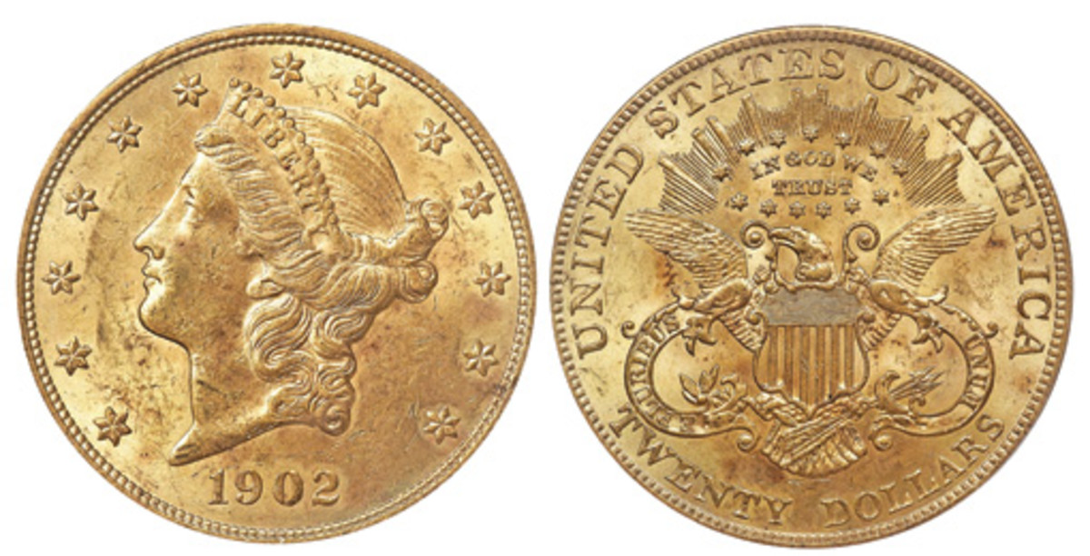 For little more than the price of gold bullion, you can buy a 1902 gold $20 in MS60 and lower grades. What a deal. (Images courtesy of Heritage)