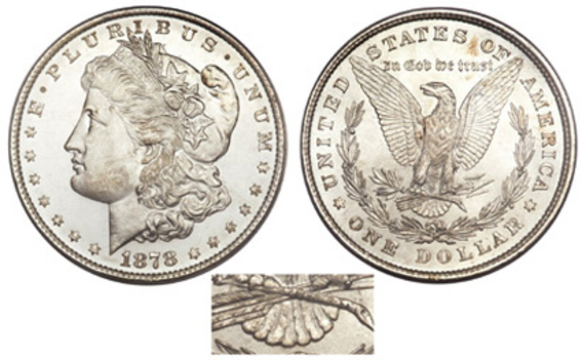 The first dollars, struck in March 1878, had eight tail feathers. (Image courtesy Heritage)