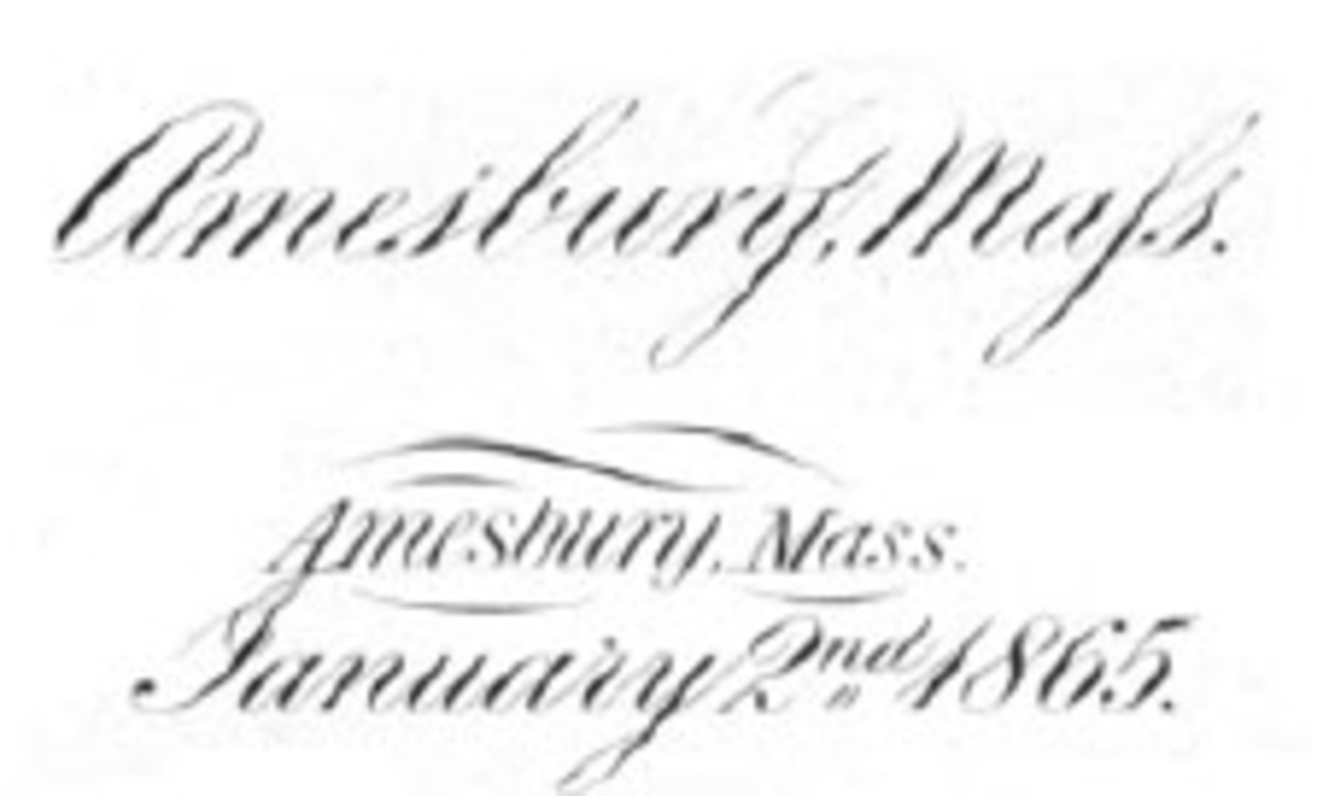 "Detail from the 1-1-1-2 plate for The First National Bank of Amesbury, charter 393, showing the mixed use of ""Maſs"" and ""Mass"" between the $1 and $2 subjects."