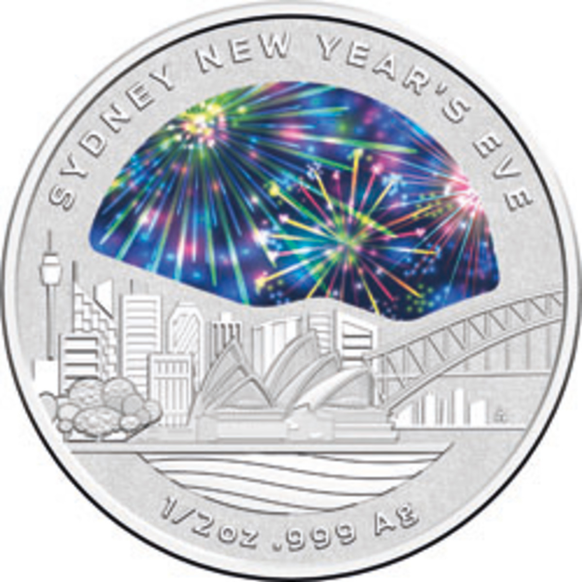 Australia's New Year coin celebrates Sydney's traditional firework display that lights up city's harbor. (Image courtesy RAM)