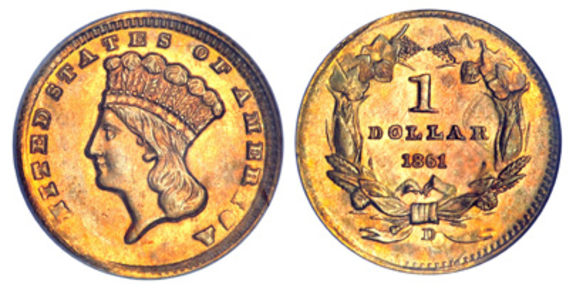 This 1861gold dollar struck at the Dahloega Mint is likely one of the finest examples of a usually poorly struck coin, with the 'U' in 'United States' often missing. Only about 1,000 of the 1861-D gold dollar were struck at Dahlonega before it was seized by Confederate forces.