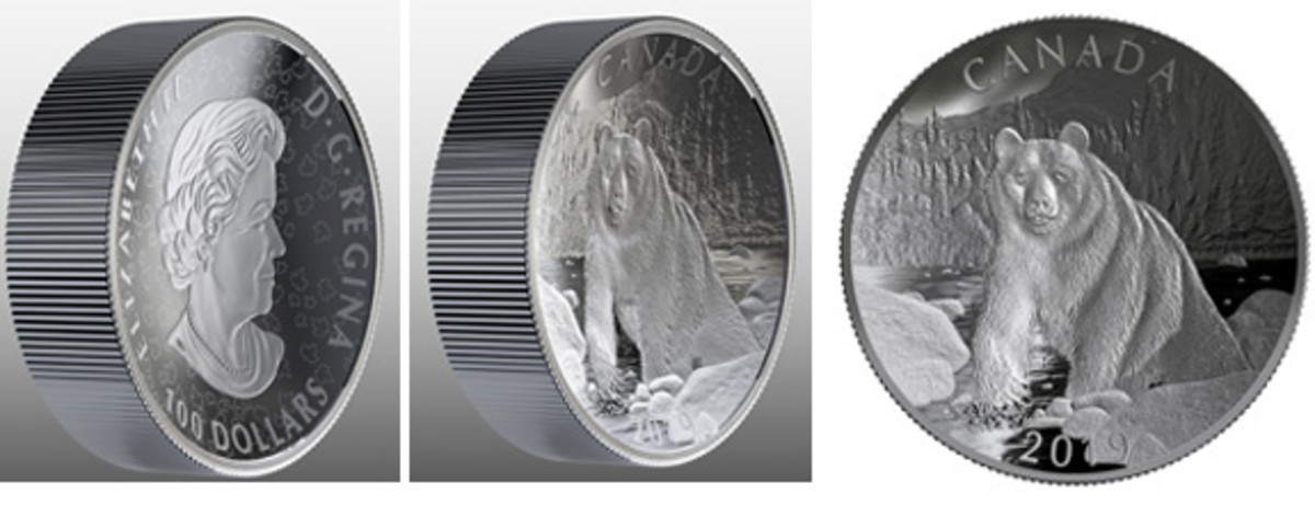 Oblique views of the obverse and reverse of Canada's new innovative 10-ounce silver twin-concave $100 proof showing Queen Elizabeth II amid maple leaves and a contented Brown Bear, along with a direct view of the reverse. (Images courtesy RCM)