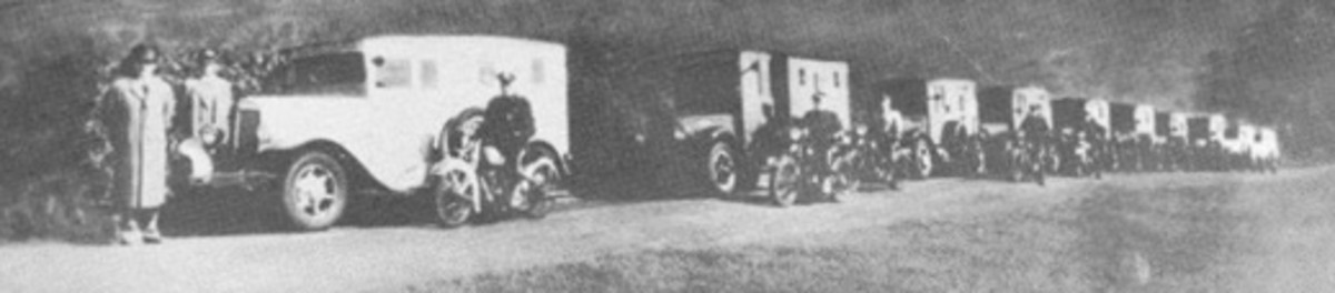 A convoy of Brink's armored cars with police escort moved the small, high value objects from Col. Green's Round Hill mansion to The First National Bank of Boston on Oct. 25, 1936. (Photo from Seng and Gilmore (1959, p. 64).)