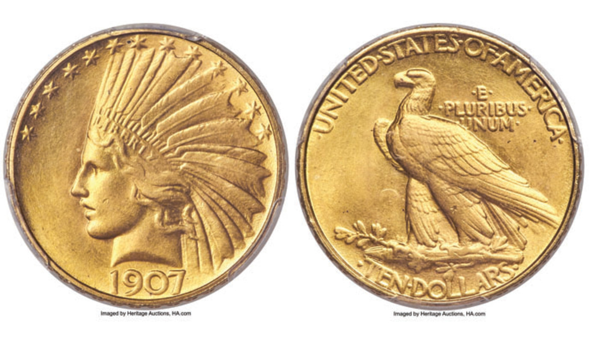 MS68 1907 $10 Indian Rolled Rim
