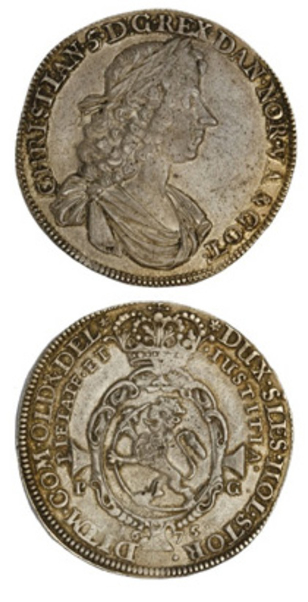 A rare Norwegian speciedaler struck for Christian V in 1675 (PG) and graded PCGS AU-53 was the top lot in a June sale by Spink, bringing $27,700 on its $16,000-18,000 estimate.