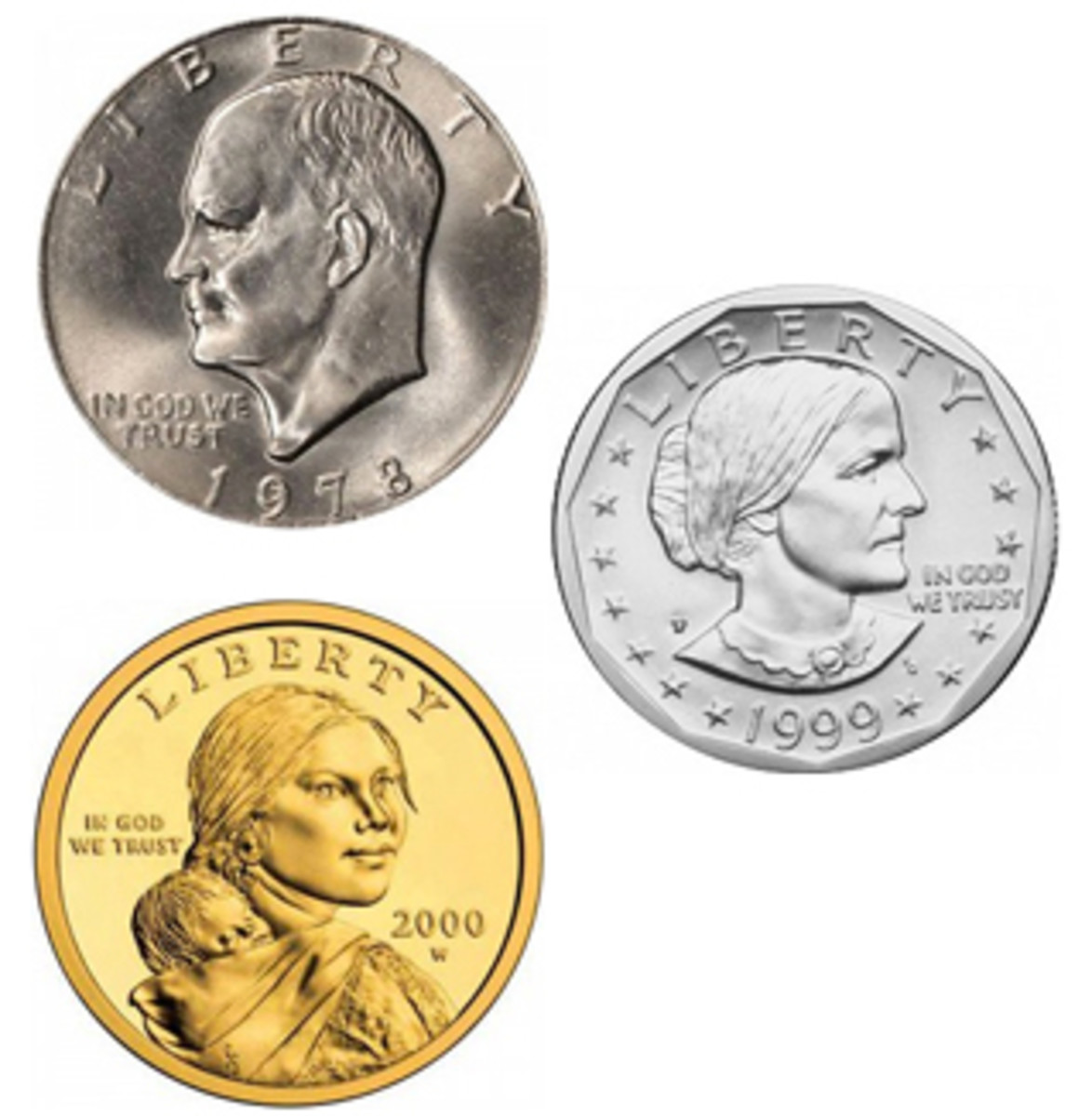 Base metal dollar coin designs that have circulated alongside the paper dollar include Eisenhower (top left), Susan B. Anthony (center right), and Sacagawea (bottom left). (Images courtesy www.usacoinbook.com)