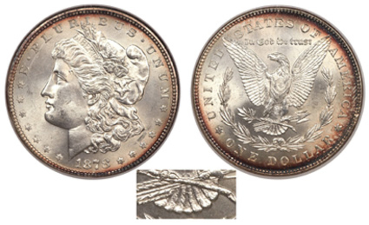 In early April 1878, the number of tail feathers was changed to seven and remained that way until the end of coinage in 1921. (Image courtesy Heritage)