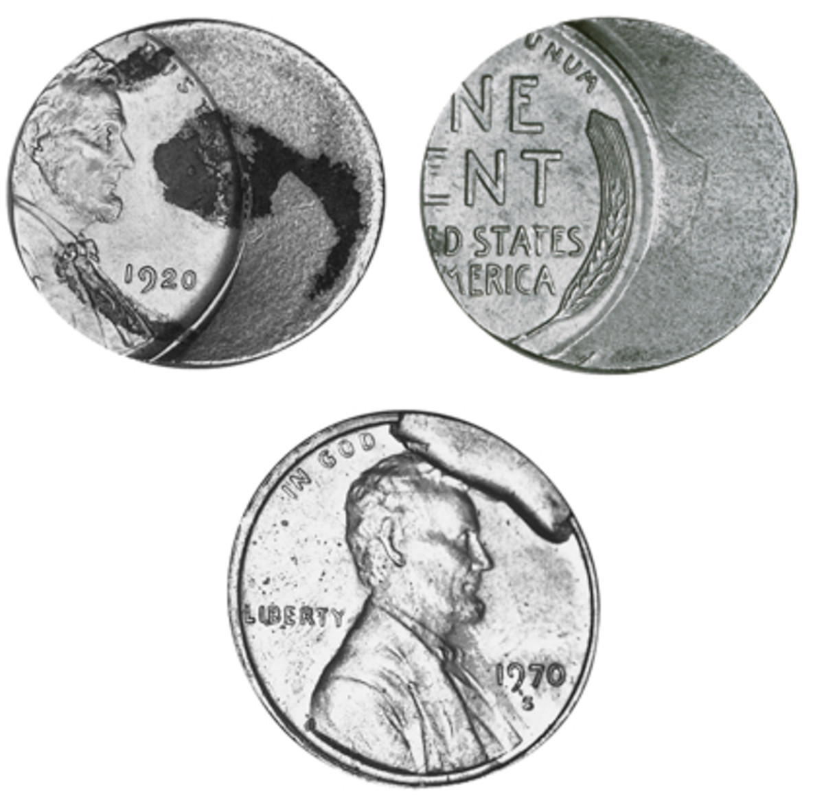 Not only was the top cent struck off center, it was also struck on a planchet intended for an Argentine 5 centavo. As shown by the cent at bottom, when a piece breaks off a die, there is nothing to strike the planchet, leaving unstruck metal popularly called a cud.