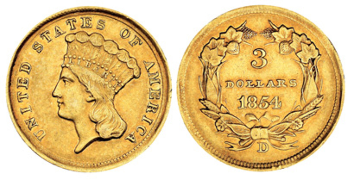 The $3 gold coin of 1854 is among the most rare of the existing coins struck at the Dahlonega Mint. Mintage of this coin was merely 1,120.