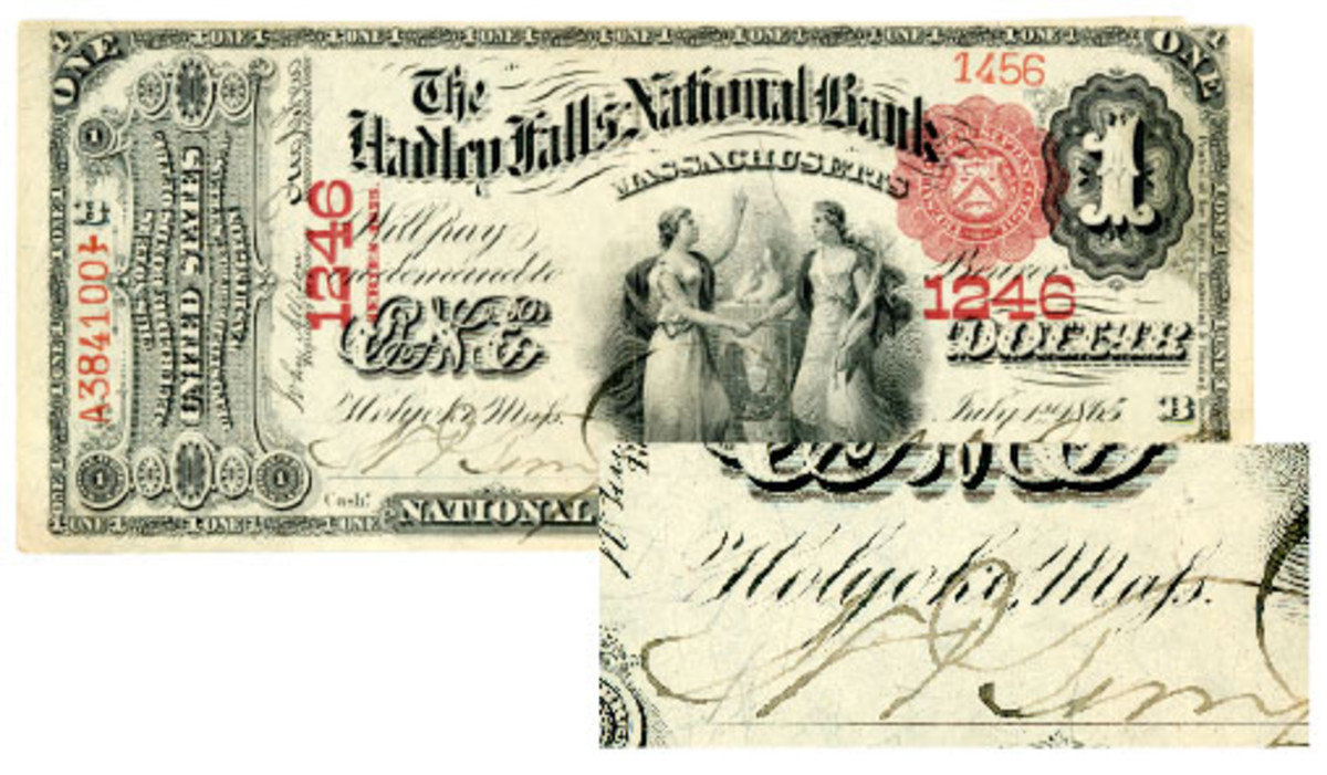 The archaic long s (Maſs) was used in the script postal location instead of Mass on this note from Holyoke, Mass.