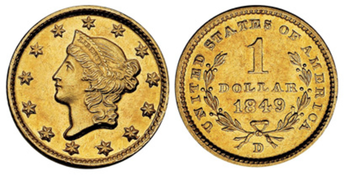 Gold dollars began coming out of the Dahlonega Mint in 1849 and continued through 1854.