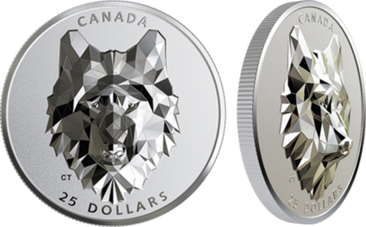 There are three coins in the Royal Canadian Mint's Multifaceted Animal Head series: the Wolf coin, built with 435 polygons; the Grizzly Bear coin with 498 polygons; and the Lynx coin with 450 polygons. Rising about 6mm in relief, the wolf head really dazzles as its polygon surfaces reflect the light. (Image courtesy Royal Canadian Mint.)