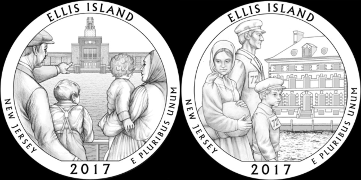 A new Ellis Island design, 06 (left), was chosen by the CFA over their previous selection of 01 (right)
