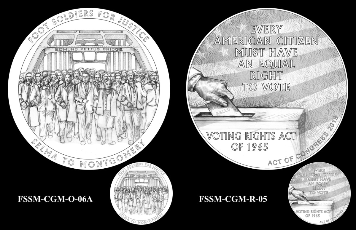 Designs selected for the obverse (left) and reverse (right) sides of the medal.